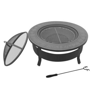 OUTDOOR FIRE PIT BBQ TABLE GRILL FIREPLACE ROUND FREE SHIPPING