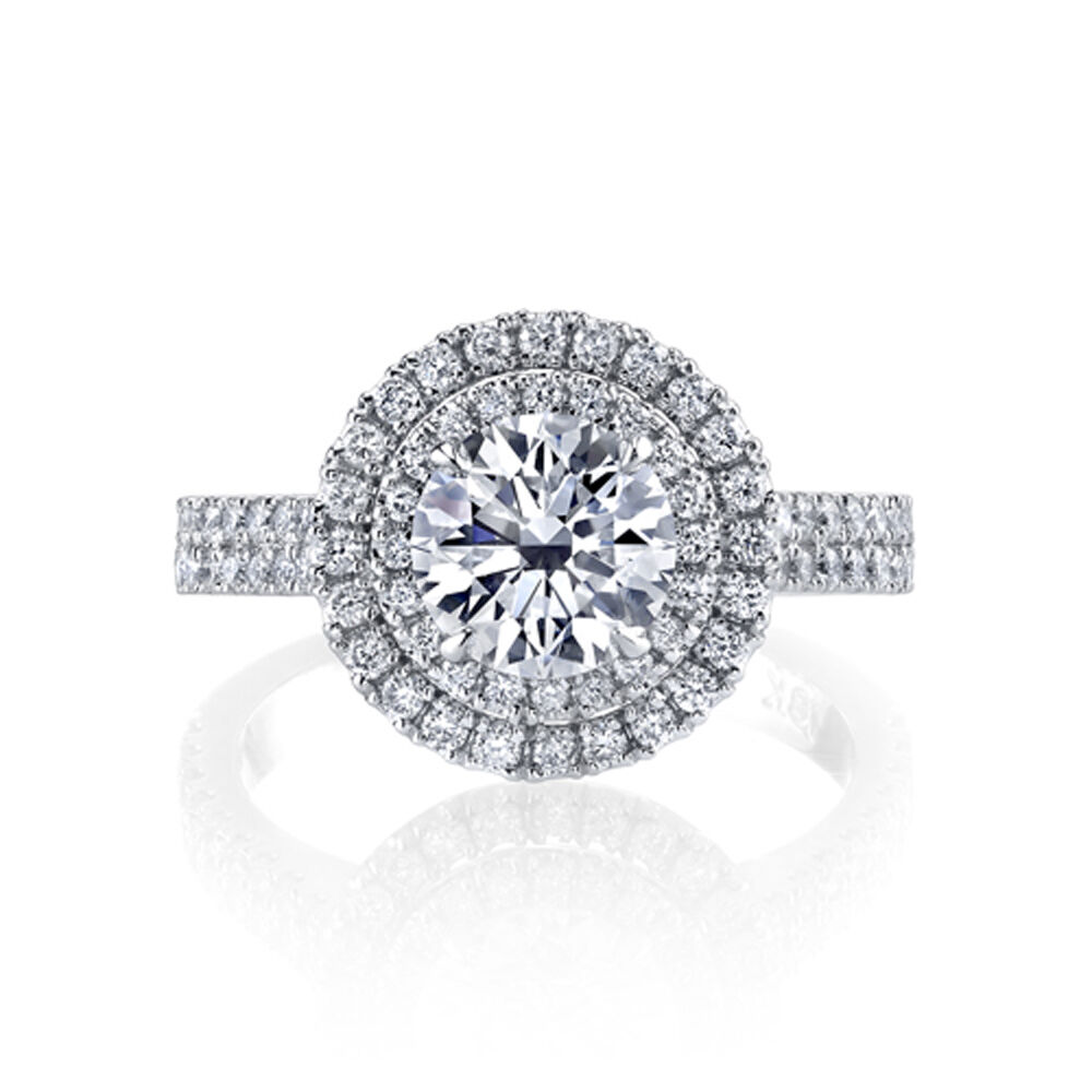 2.00ctw Natural Round Double Halo 2 Row Pave Diamond Engagement Ring - GIA