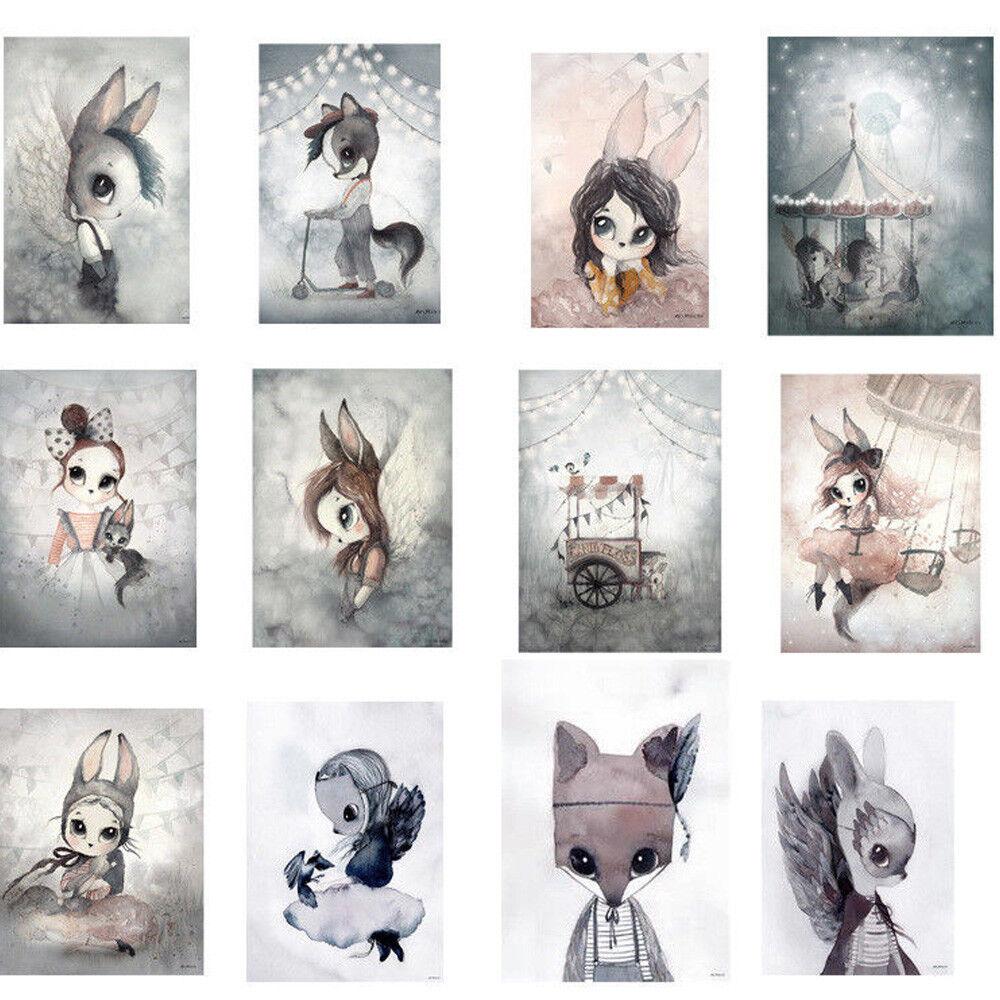 Cartoon Rabbit Girl Poster Wall Art Hand Painted Canvas Painting Kids Room Decor Ebay