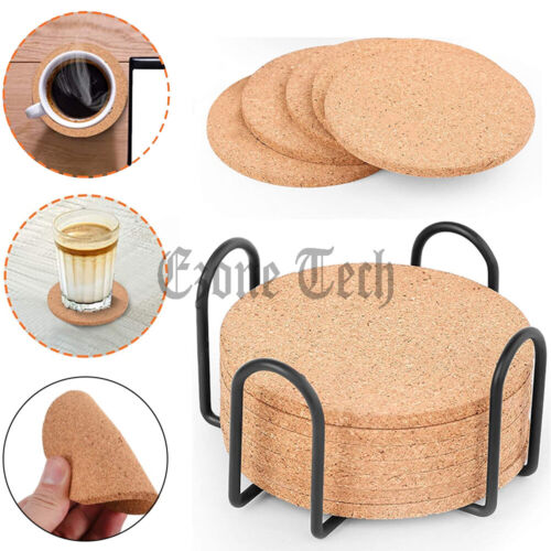 Set Of 16 Cork Coasters For Drinks Absorbent With Holder Cup Pad Mat Decor Lot