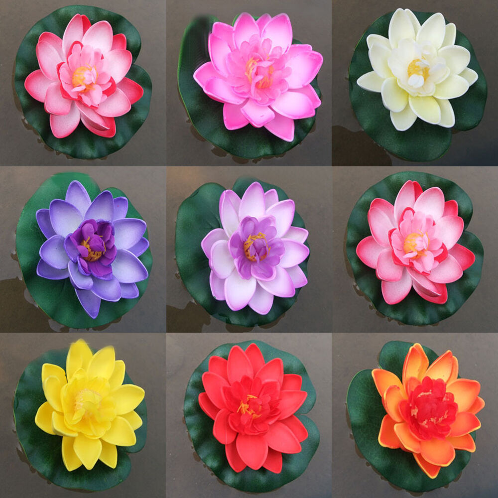 Artificial Lotus Water Lily Floating Flower Garden Pond Tank Plant