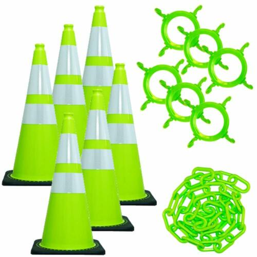 Mr. Chain Traffic Cone and Chain Kit Safety Green with Reflective Collar 28in