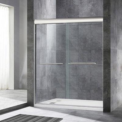 """WoodBridge  Semi Frameless Bypass Sliding Shower Door 56"""" to 60"""" by 72"""", Chrome"""
