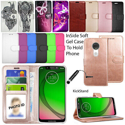 For Motorola Moto G7 Plus G7 Play Phone Case Wallet Cover Leather Book + Stylus