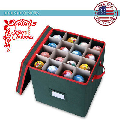 Christmas Ball Ornament Storage Chest Box Organizer Container w/ Divider Hold 64