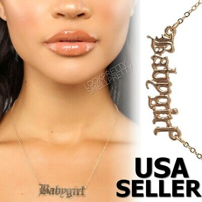 Babygirl Gold Plated Fashion Necklace Silver Custom Name Hip Hop Celebrity Chain ()