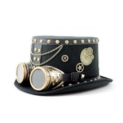 Sombrero Negro Steampunk con Engranajes Gafas Cadena Tachuelas Hombre Masculino