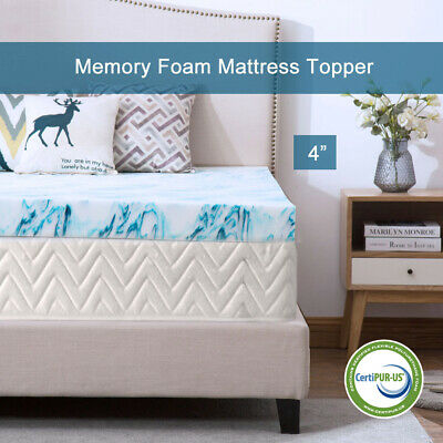 4 Inch Blue Swirl Memory Foam Mattress Topper Gel Ventilated Dot Bed Queen Twin (Blue Mattress)