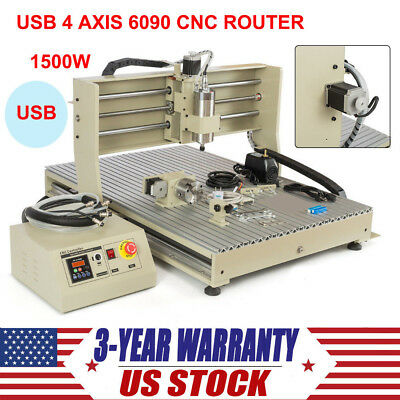 4 Axis Cnc 6090t Router Engraver 1500w Vfd Usb Engraving Milling Cutting Machine