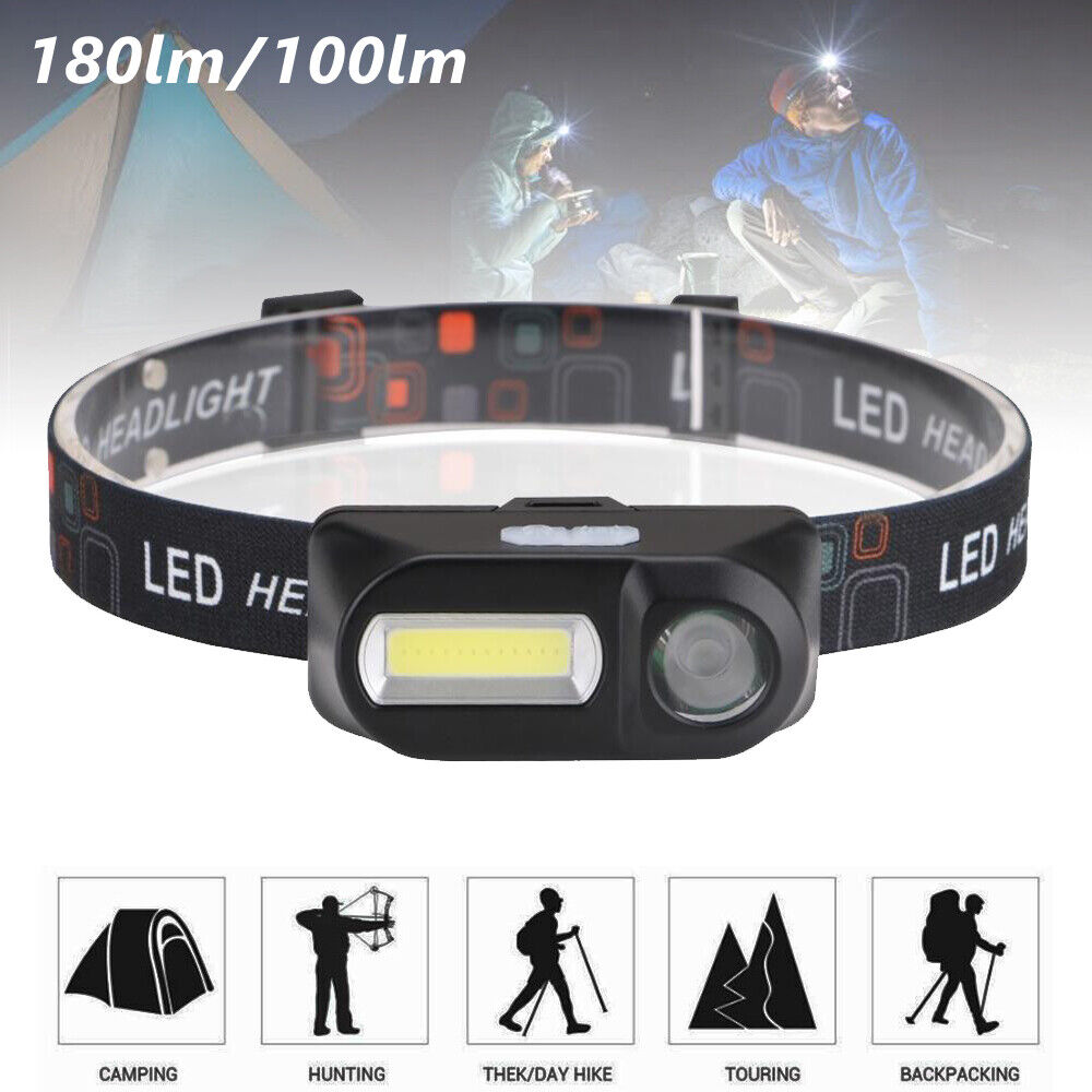 6 Modes USB Rechargeable COB Headlamp LED Headlight Light Torch Flashlight Camping & Hiking