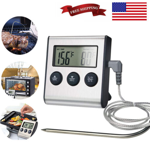 1/2 Pack Digital Cooking Meat Thermometer with Probe For Gri