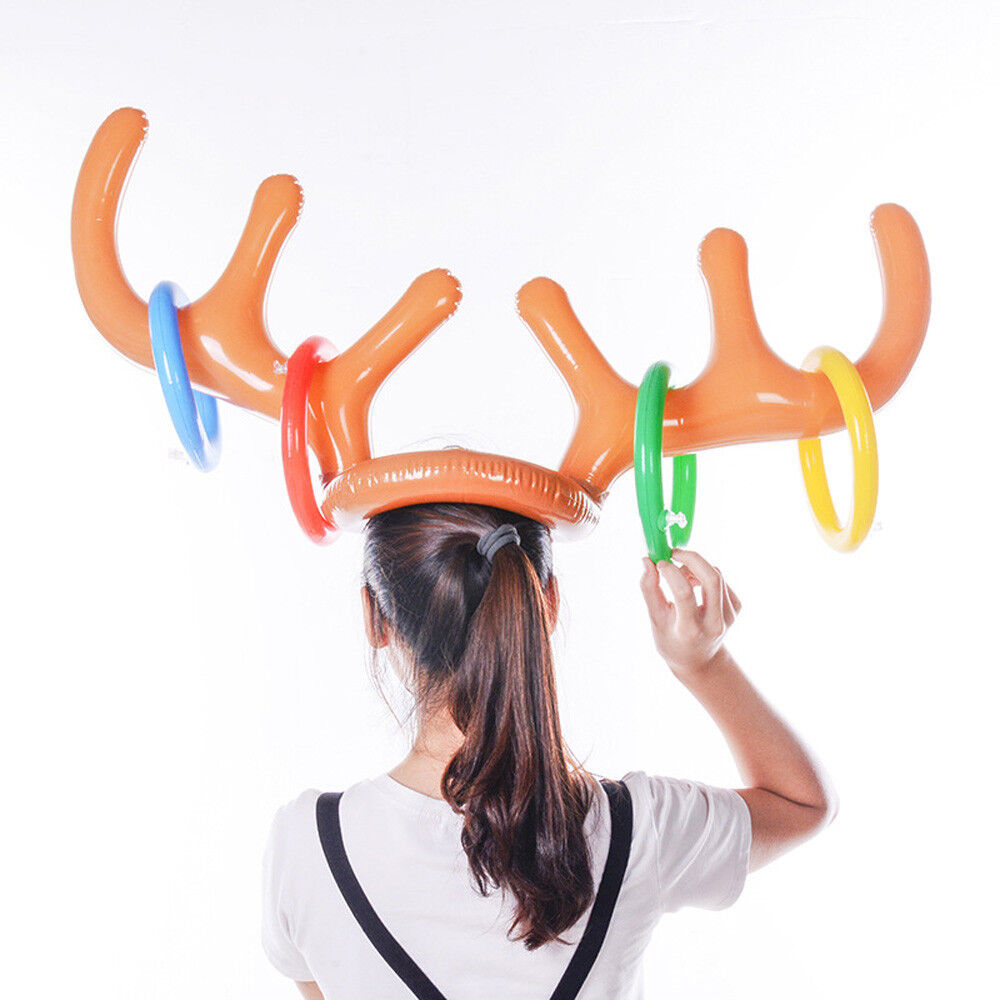 Kids Inflatable Reindeer Christmas Hat Holiday Party Antler Ring Toss Game Toy