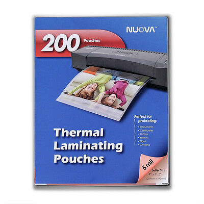 Nuova 200-pack 5 Mil Thermal Laminating Pouches 9 X 11.5 Inches Letter Size