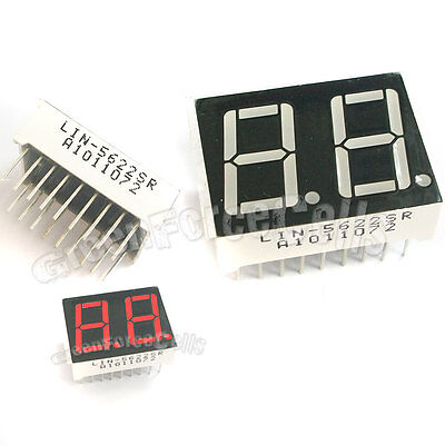 1 Pc 0.56 7 Segment 2 Digit Super Red Led Display Common Anode 18 Pins