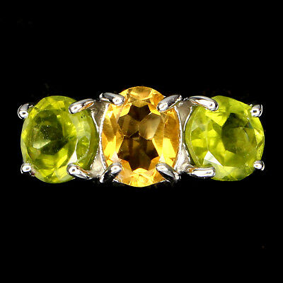 (GENUINE GEM Top Rich Yellow Citrine, Peridot 925 Silver 3- STONE Ring Band SZ6.5)