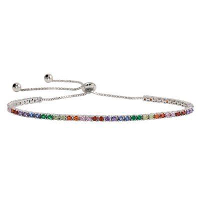 Silver Multi Color Stone Bracelet (Sterling Silver Lariat Tennis Bracelet w/ Multi Color Rainbow CZ Stones )
