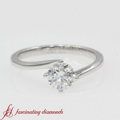 3/4 Carat Round Cut Diamond Solitaire Twisted Engagement Ring In 18K White Gold