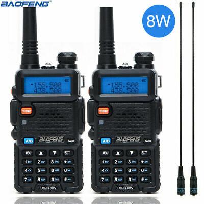 2x UV-5R 8W Baofeng VHF UHF Walkie Talkie Dual Band Two Way Radio+2x 771 Antenna