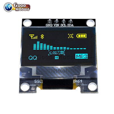 Yellow Blue 0.96 I2c Iic Serial 128x64 Oled Lcd Led Display For Arduino Stm32