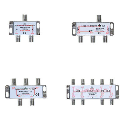 2 3 4 8 Way 5-2300 Power Pass Coaxial Splitter for RG6 RG59 Coax Cable Satellite Rg6 Cable Splitter