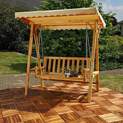 Holz Hollywoodschaukel Gartenschaukel Schaukel Bank  inkl. Dach - Beige Garten