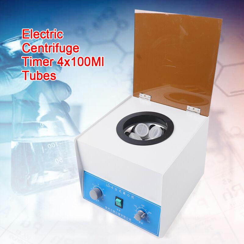 Electric Centrifuge Machine Lab Medical Practice LD-4 4000rpm W/ 4x 100ml Rotor