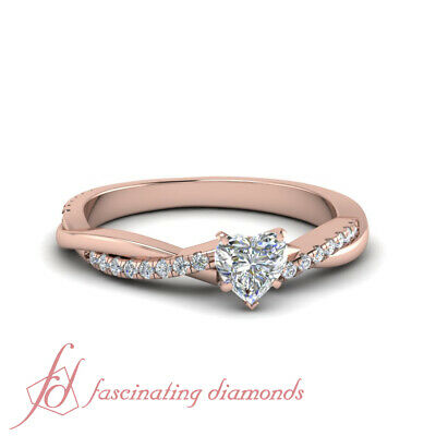 Twist Style Engagement Rings For Women 0.60 Ct Heart Shape GIA Certified Diamond