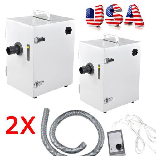 2x Portable Dental Lab Digital Single-Row Dust Collector Vacuum Cleaner Machine