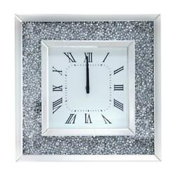 Wall Clock Mounted Home Decoration Faux Diamonds Mirrored Hanging Square Large
