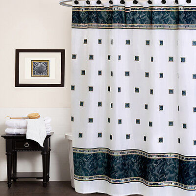 Black/White Greek Key Seashell Pattern Polyester Fabric Shower Curtain 70″ x 72″ Bath