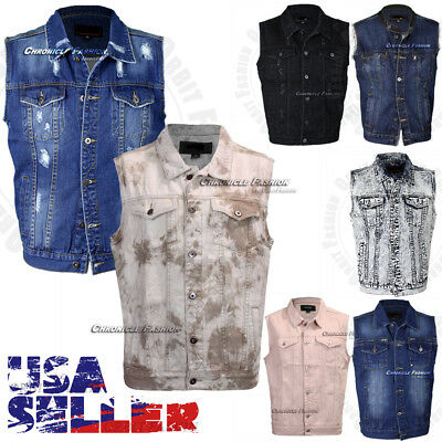 Mens Denim Vest Jean Jacket Button Casual Sleeveless Coat Vintage Tank Fashion