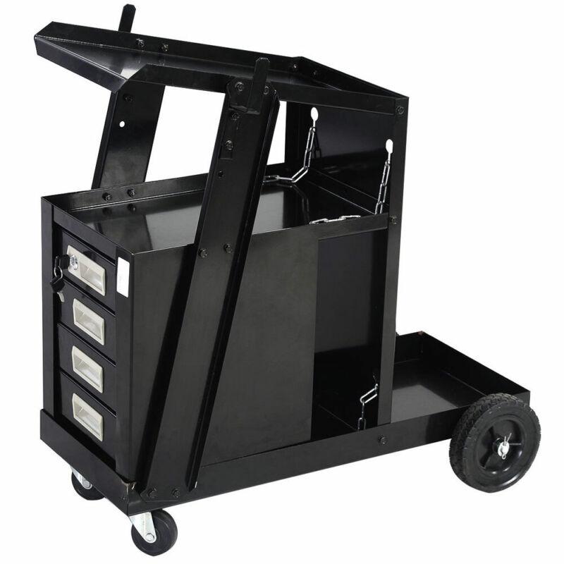 Welding Welder Cart w/4 Drawer Cabinet MIG TIG ARC Plasma Cutter Tank Storage