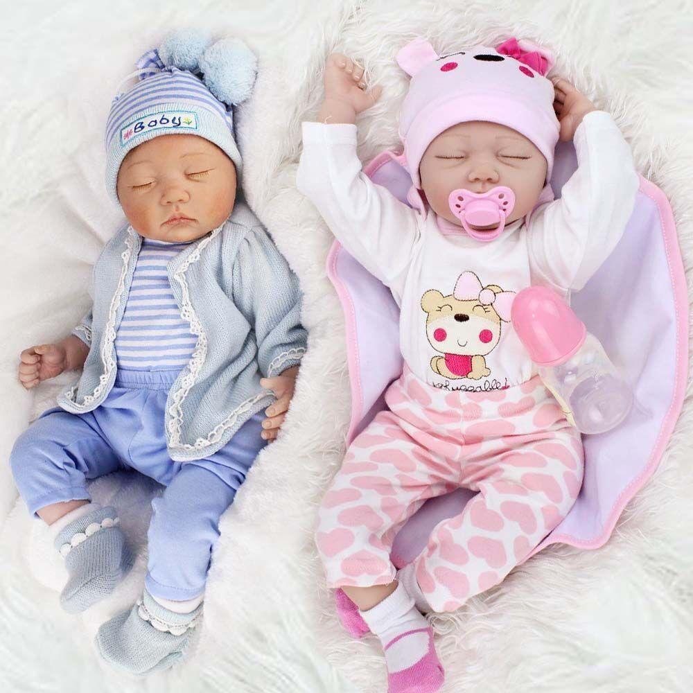 "22/""Twins Girl+Boy 2pcs Reborn Baby Doll Newborn Vinyl Silicone Handmade Kids Toy"