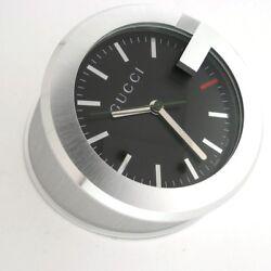 Gucci YC210004 G Clock Quartz Swiss Made Aluminum Table Desk Mantle in Box