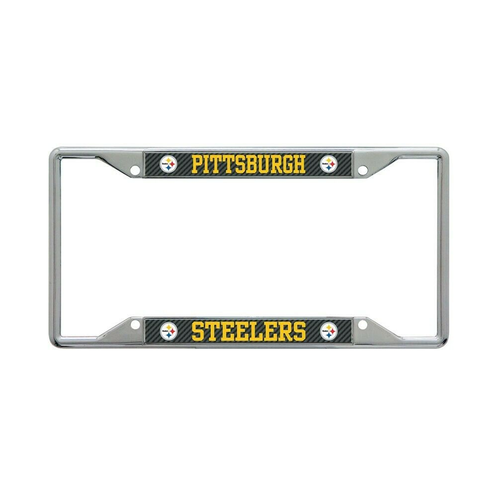 """PITTSBURGH STEELERS CARBON BACKGROUND 6""""X12"""" METAL LICENSE P"""