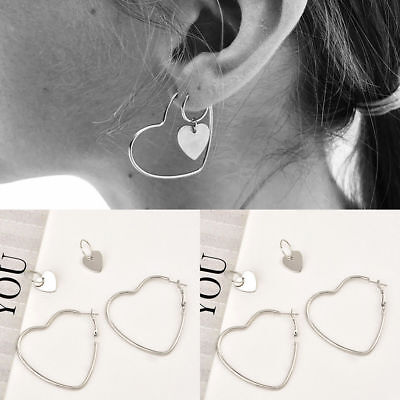 2Pairs New Heart Women Jewelry Big Hoop Earrings Hip-Hop Silver Dangle Ear Studs