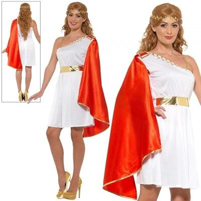 Roman Lady Costume Ladies Toga Party Fancy Dress Outfit Sizes (Toga Party Outfit Kostüm)