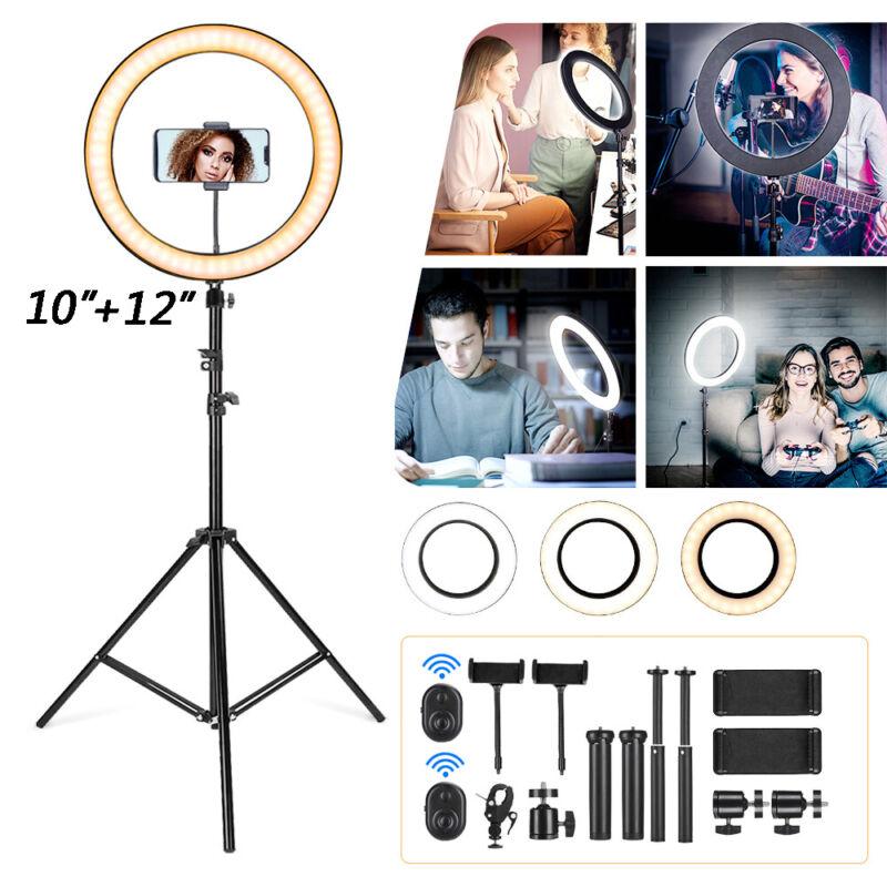 "10"" / 12"" LED Ring Light Stand Kit Dimmable Photo Holder Studio Selfie Live Lamp"