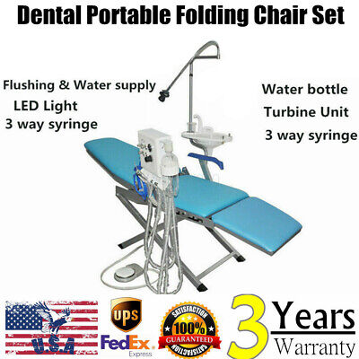 Dental Portable Folding Chair With 4-hole Weak Suction Turbine And Led Llight Us
