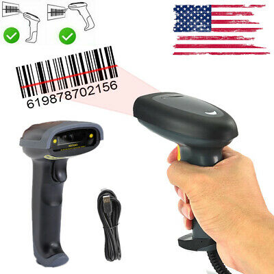 Portable Laser Gun Handheld Barcode Scanner Upc Label Pos Reader Removable Usb