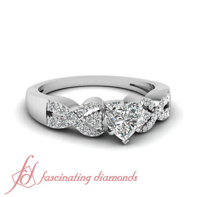 Infinity Twist Diamond Engagement Ring With Center Heart Shaped Diamond 0.75 Ctw
