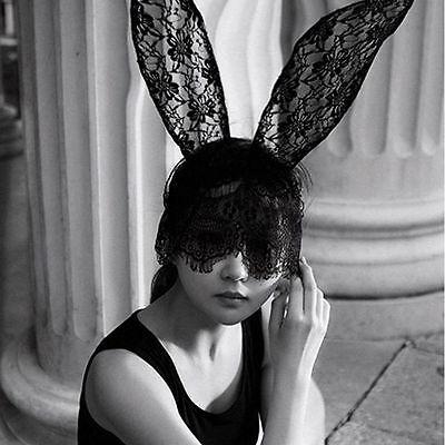 Fascinator White Decor Girl Black Women Lace Mask Bunny Ears Veil Fancy Dress