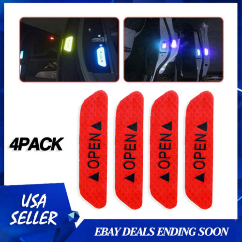 Car Parts - Red 4PCS Super Hot Door Open Sticker Reflective Tape Safety Warning Decal Parts