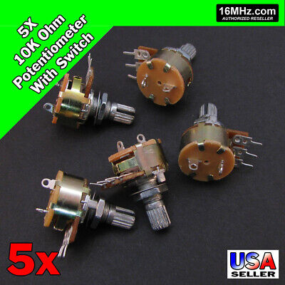 5x 10k Ohm Linear Taper Rotary Potentiometer B10k Won Off Switch Us 5pcs U49