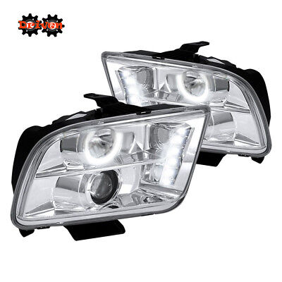 05-09 Ford Mustang Chrome Projector Headlights LED DRL Convertible GT Cobra SVT