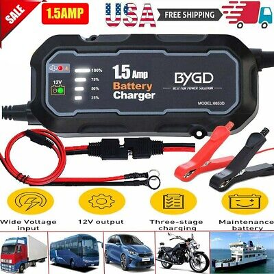 1.5A Smart Car Battery Charger Maintainer for 12V AGM/GEL/WET Battery Vehicle US