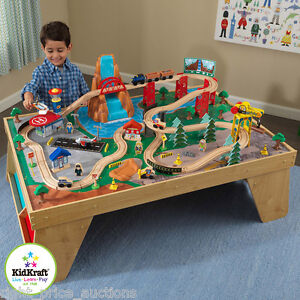 kidkraft waterfall station train set and table kids boys toy play railway track ebay. Black Bedroom Furniture Sets. Home Design Ideas