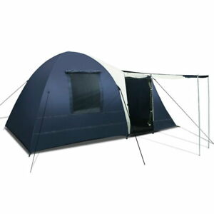 Weisshorn 8 Person Canvas Dome Camping Tent - Navy and Grey
