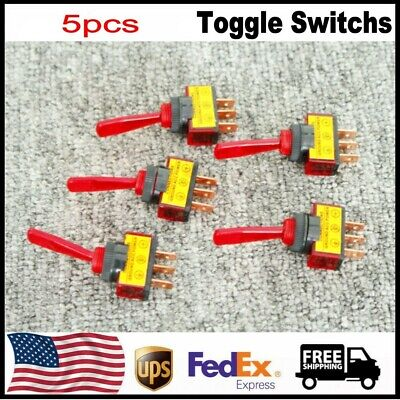 5pcs Toggle Switchs Dc 12v 20a Onoff 12mm Red Spst Thread Panel Mount Us Stock