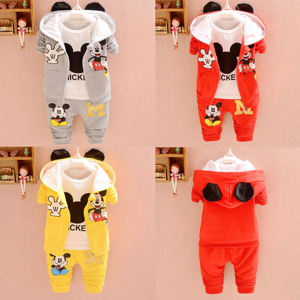 3pc Toddler baby boys Girls Mickey Outfit Hooded coat+T shir